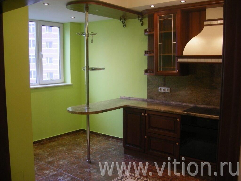 Кухня с барной стойкой ремонт трехкомнатной квартиры 90 м.кв.