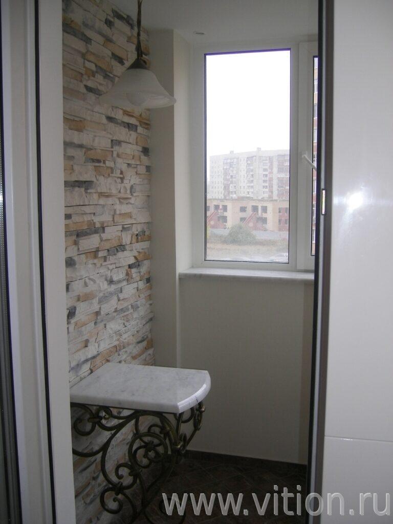 Отделка стен искусственным камнем балкон фото. - ставим окна.