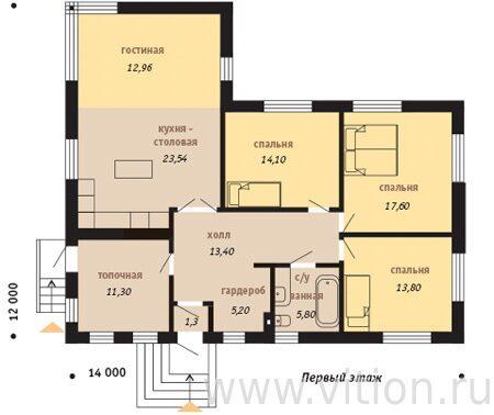 Проект одноэтажного дома с тремя