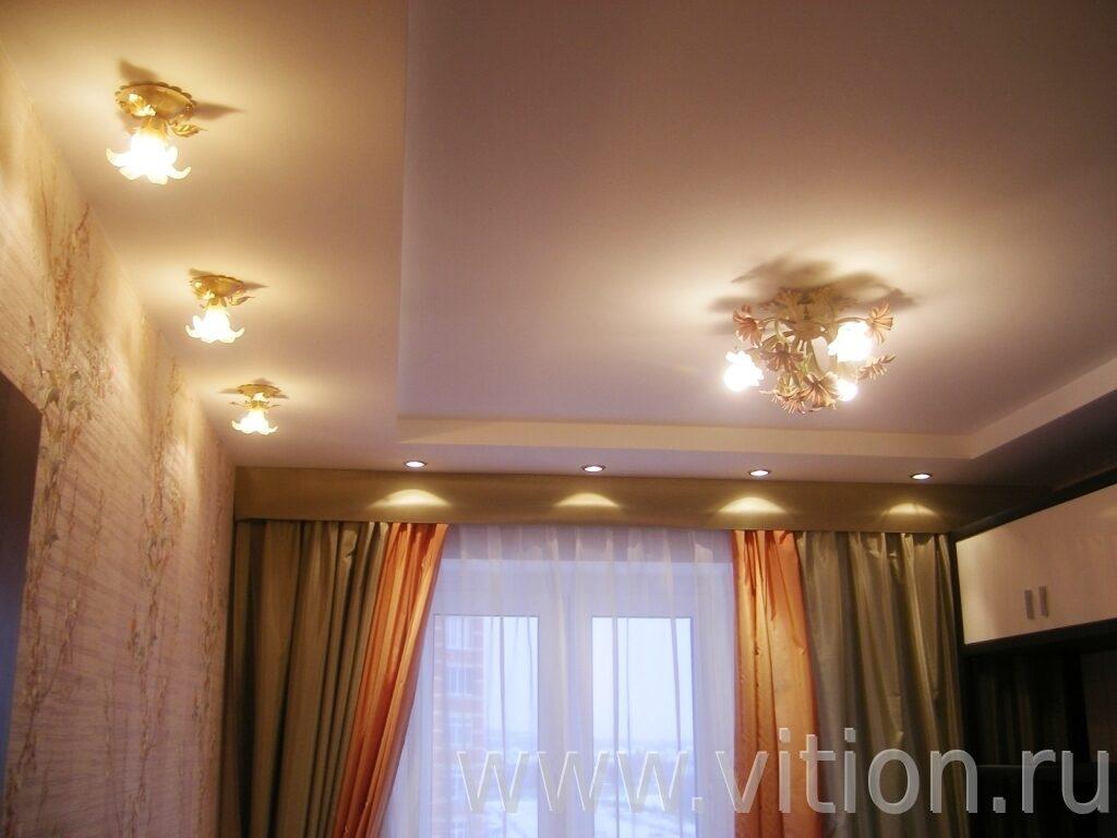 Подвесной потолок и светильники в детской Ремонт трехкомнатной